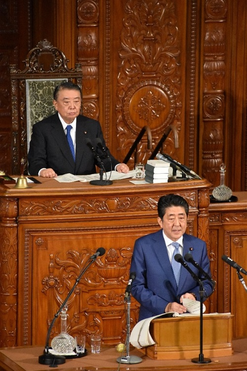 Prime Minister S. Abe's address on general policy: Click on the picture to enlarge it.