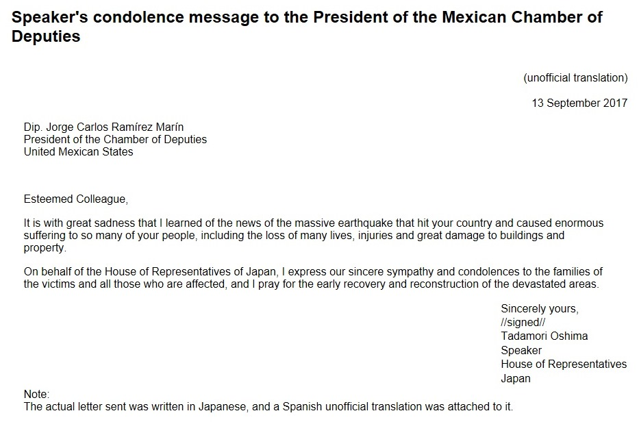 Speaker's condolence message to the President of the Mexican Chamber of Deputies : Click on the title or picture to display topic details.