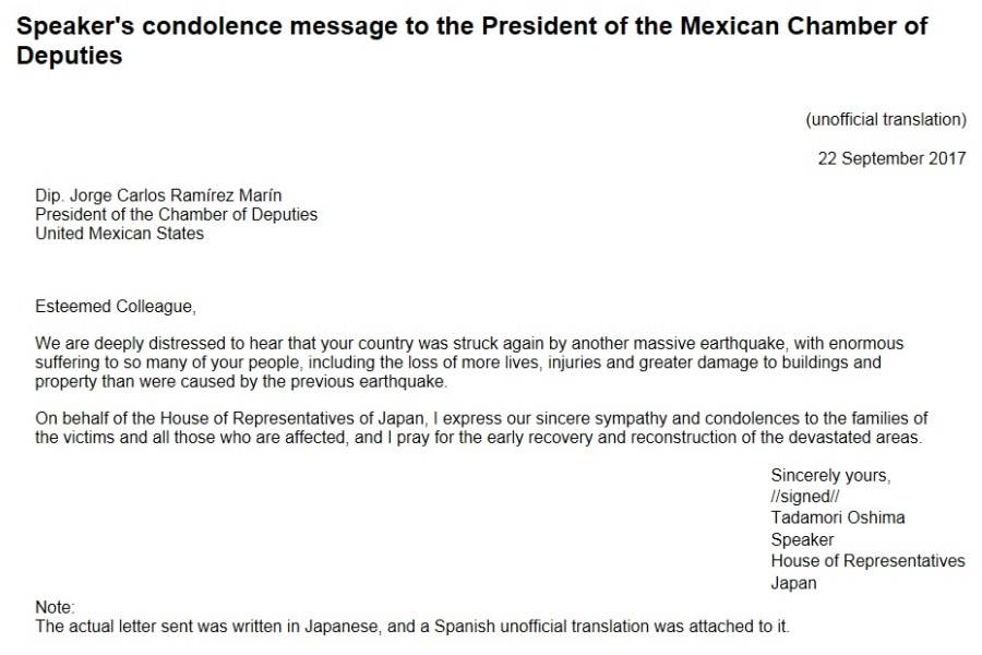 Speaker's condolence message to the President of the Mexican Chamber of Deputies: Click on the title or picture to display topic details.