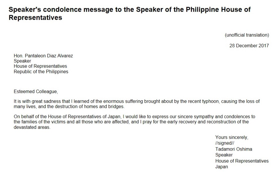 Speaker's condolence message to the Speaker of the Philippine House of Representatives: Click on the title or picture to display topic details.
