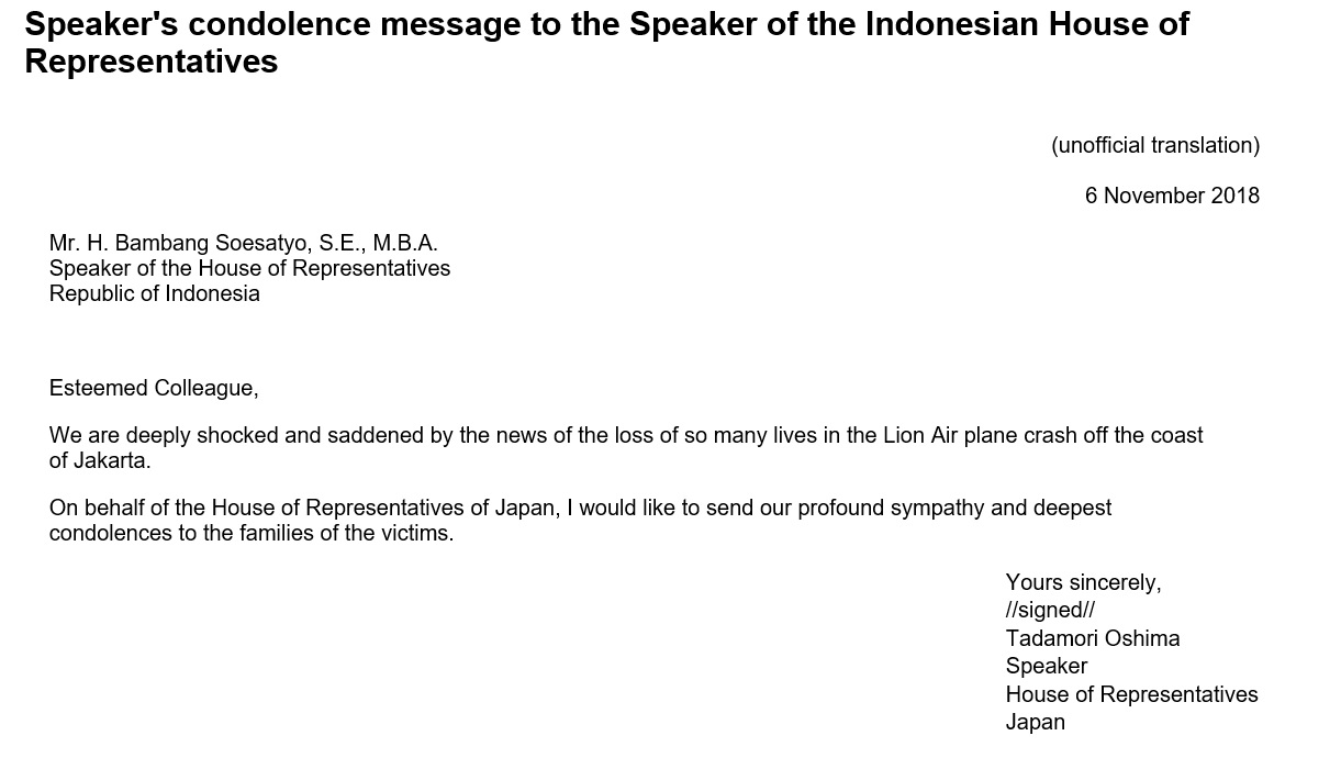 Speaker's condolence message to the Speaker of the Indonesian House of Representatives: Click on the title or picture to display topic details.