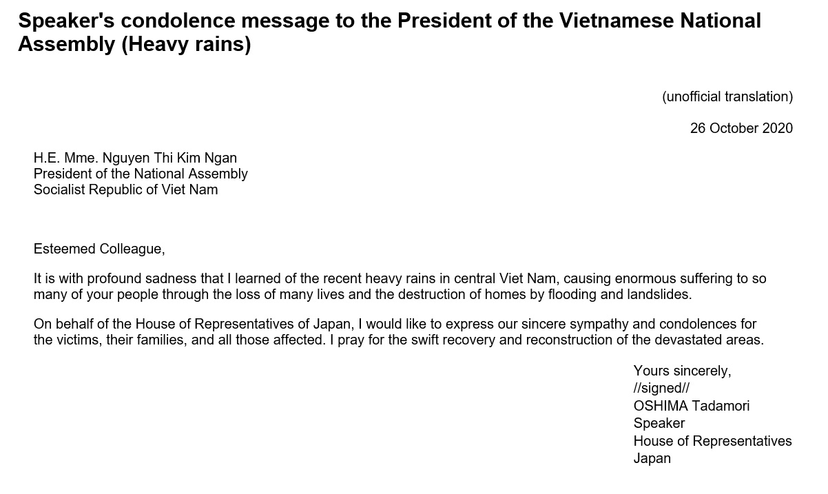Speaker's condolence message to the President of the Vietnamese National Assembly (Heavy rains): Click on the title or picture to display topic details.